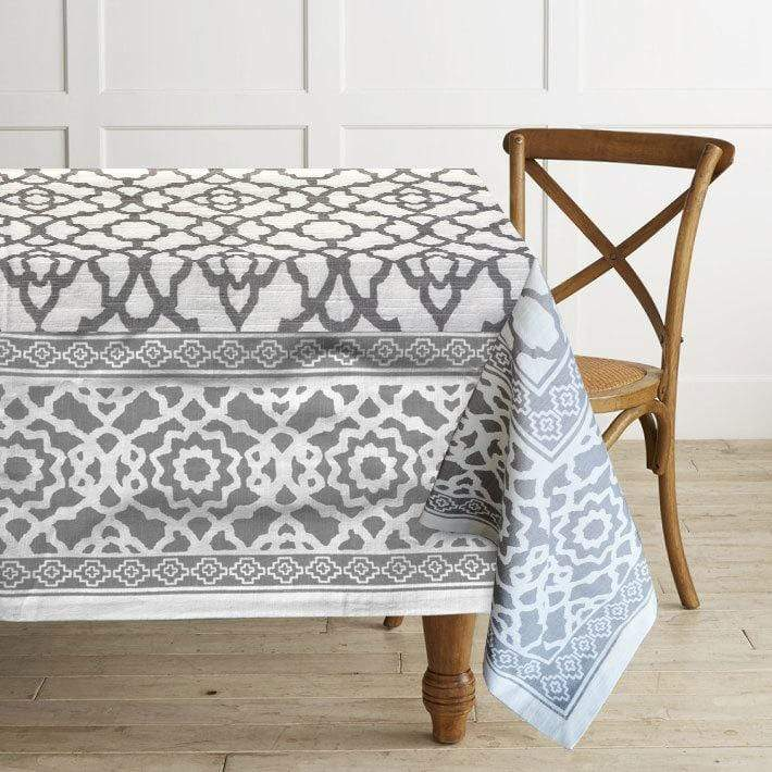 Vintage Grey and White Tablecloth