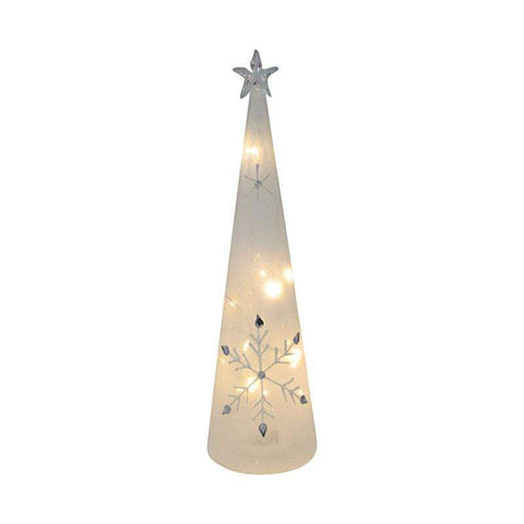 Glass LED Tree with Star 8x29cm