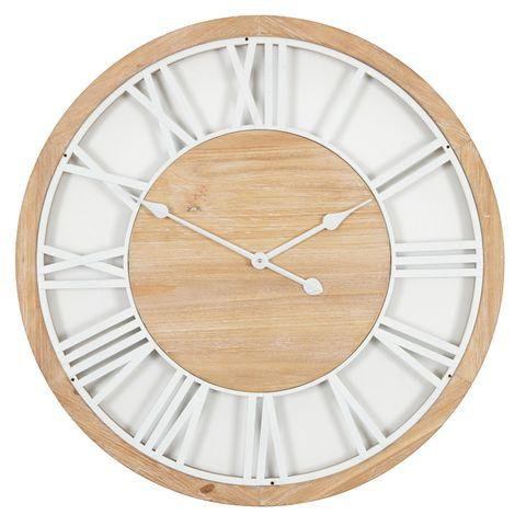 Claren Clock Natural and White 70cm