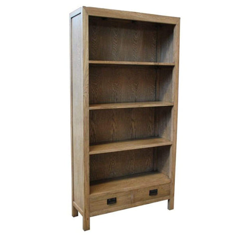 Oak 2 Drawer Bookcase
