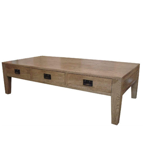 Oak 3 Drawer Coffee Table