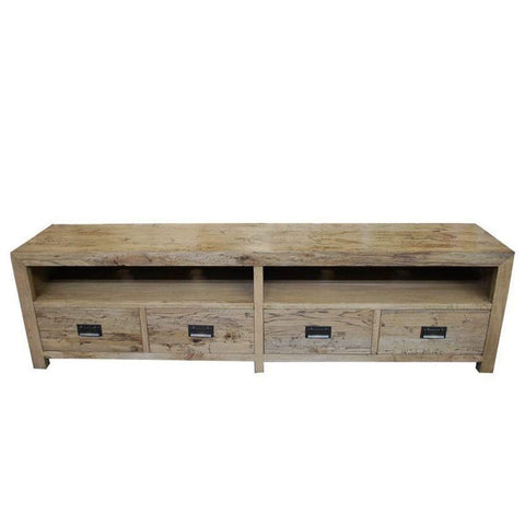 Oak 4 Drawer Entertainment Unit