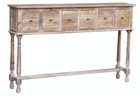 Whitewash 6 Drawer Console