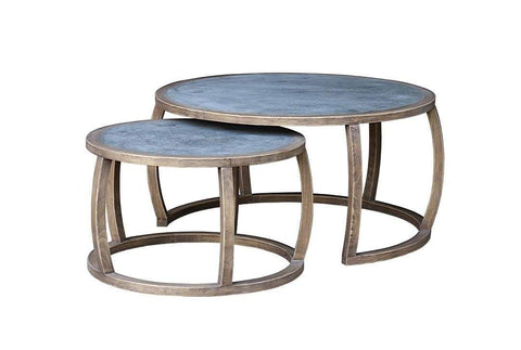Zinc Topped Round Side Table