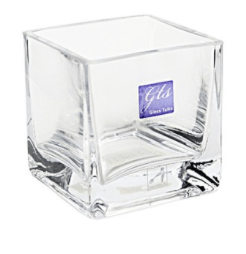 GLASS SQUARE VASE 8X8X8CMH
