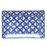 Blue and White Rectangle Plate