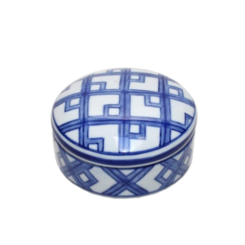 Blue and White Round Trinket Box 10cm
