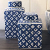 Lattice Blue and White Jar 30cm