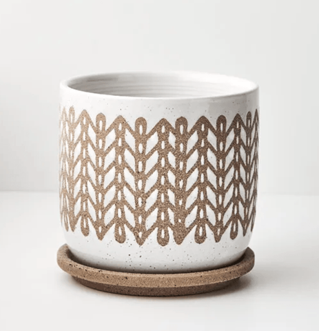 White Tan Rubusa Pot with Saucer
