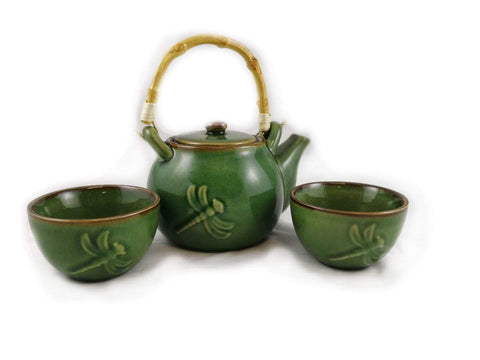 Dragonfly Teaset Dark Green 3PC