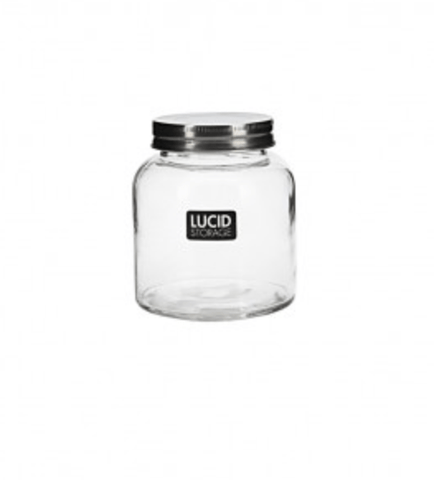 GLASS SPICE JAR WITH METAL LID 340ML