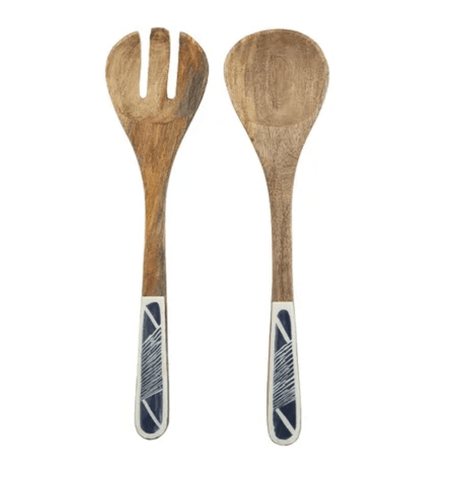 PIREAUS WOODEN AND RESIN SERVERS SET OF 2