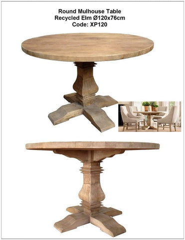 """Mulhouse"" Recycled Elm Dining Table 1.2M"