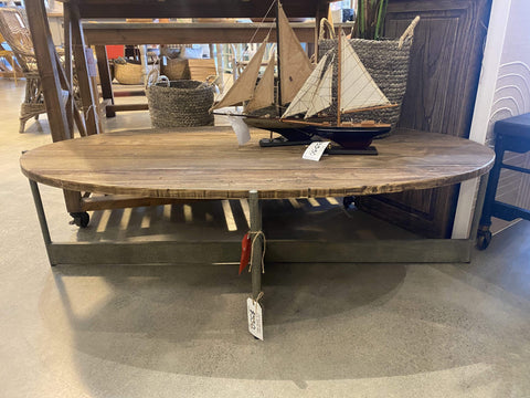 Old Elm and Iron Oval Coffee Table
