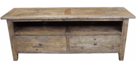 PARQUETRY RECYCLED ELM 2 DRAWER TV UNIT
