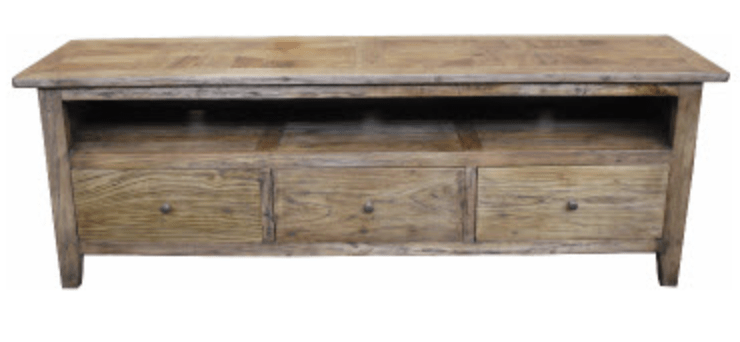 PARQUETRY RECYCLED ELM 3 DRAWER TV UNIT