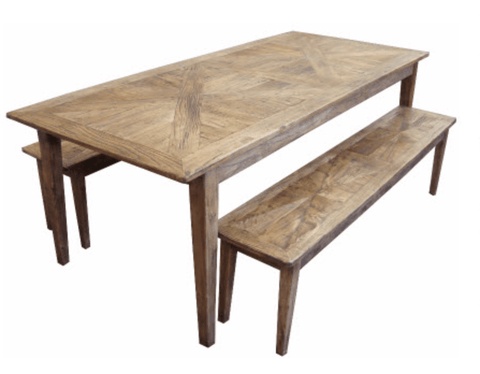 Parquetry Recycled Elm Dining Table