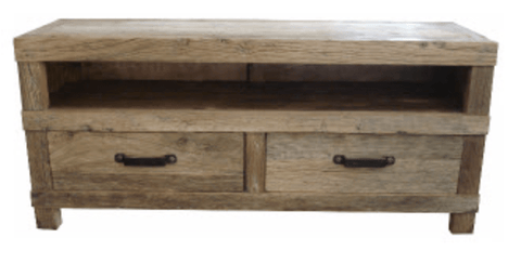 Recycled Elm 2 Drawer Entertainment Unit with Iron Handles 140x42x62cm