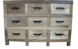 Recycled Elm 9 Drawer Sideboard 148x50x100cm