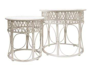 Scout White Rattan Side Table