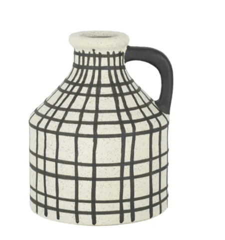 Crosshatch Ceramic Vase Black and White - Assorted Sizes