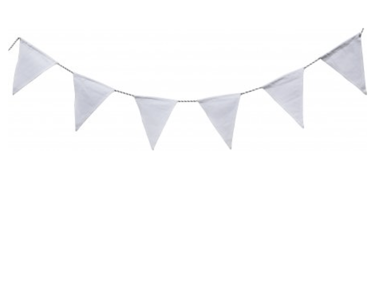 Solid White Bunting 5 metres long