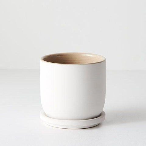 White Cavo Pot with Saucer