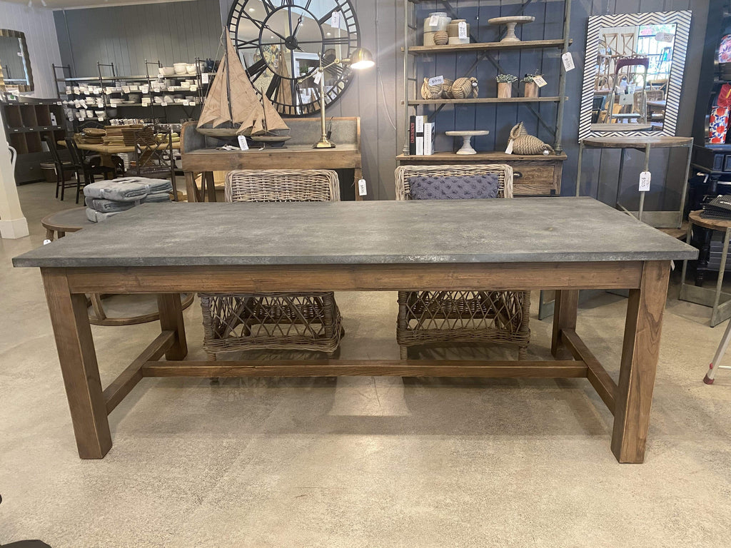 Zinc Topped Dining Table with Drawers