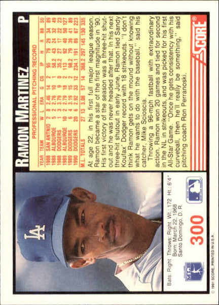1991 Score 300 Ramon Martinez Baseball Card