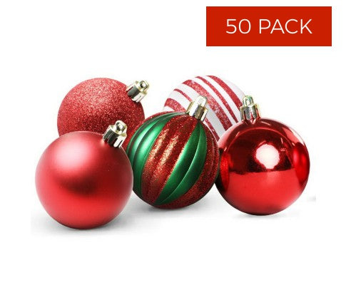 50pcs Christmas Baubles - Red