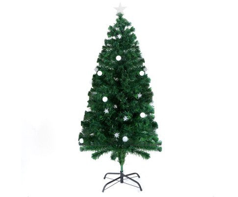1.2M Christmas Tree 12 Frosted Balls and 12 Starbursts - Green
