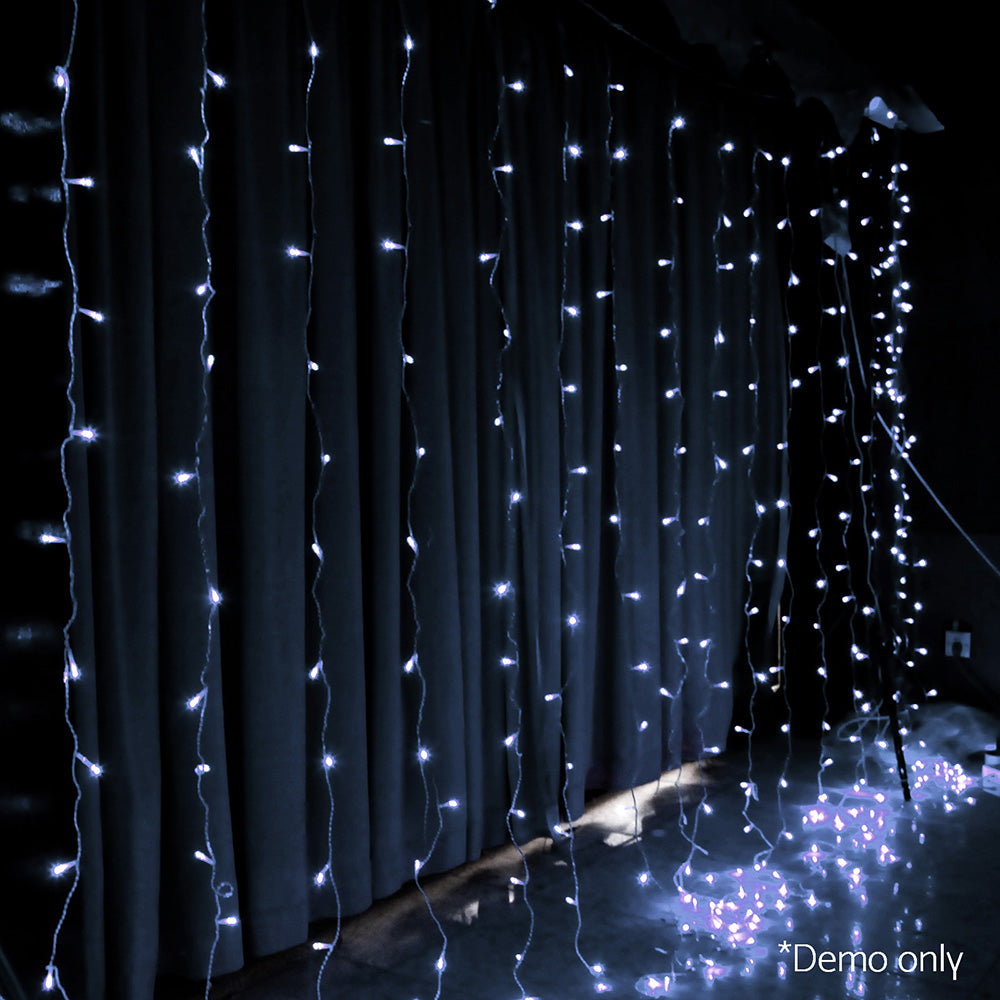 300 Christmas LED Curtain Lights - White