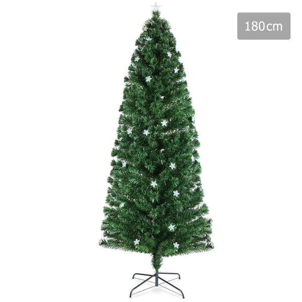 1.8M Christmas Tree with Fibre Optic Tips - Green