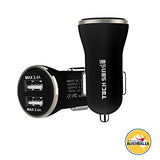 Tech Sense Lab (Australia) 4.8A, 23W Dual USB Ultra Fast Car Charger (Black N Silver)