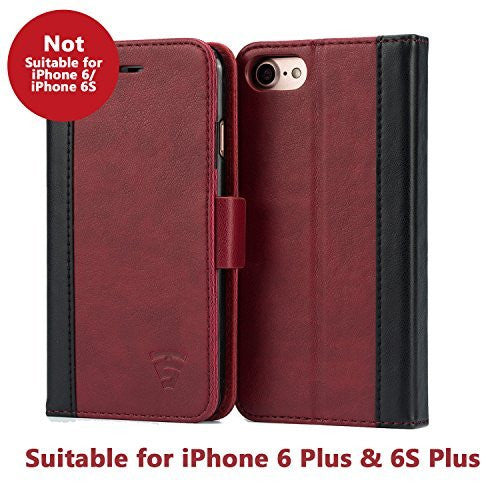 Tech Sense Lab (Australia) iPhone 6 Plus / 6S Plus Faux Leather, Urban Wallet Case with Kickstand feature And Card Slots, Military Grade TPU Holder & Effortless Double Magnetic Clasp
