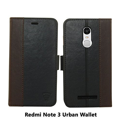 Tech Sense Lab (Australia) Redmi Note 3 Faux Leather, Urban Wallet Case with Kickstand feature And Card Slots, Military Grade TPU Holder & Effortless Double Magnetic Clasp