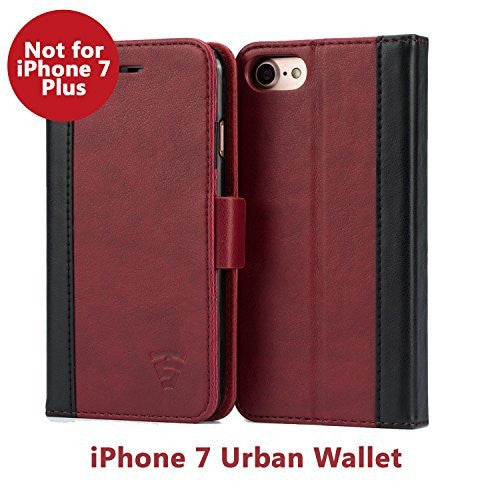 iPhone 7 Faux Leather, Urban Wallet Case By Tech Sense Lab With Kickstand feature And Card Slots, Military Grade TPU Holder & Effortless Double Magnetic Clasp