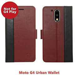 Tech Senes Lab (Australia) Moto G4 Faux Leather, Urban Wallet Case with Kickstand feature And Card Slots, Military Grade TPU Holder & Effortless Double Magnetic Clasp