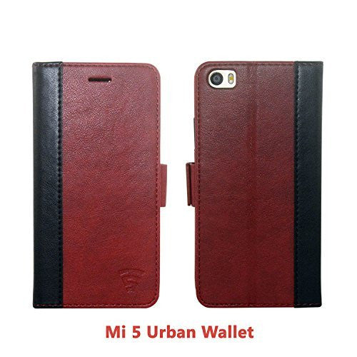 Tech Sense Lab (Australia) Xiaomi Mi5 Faux Leather, Urban Wallet Case with Kickstand feature And Card Slots, Military Grade TPU Holder & Effortless Double Magnetic Clasp