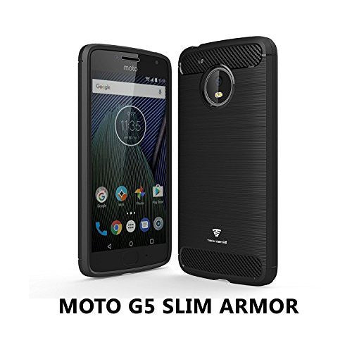 Moto G5 Slim Armor Case By Tech Sense Lab, Shockproof And Easy Grip Design With Carbon Fiber Finish