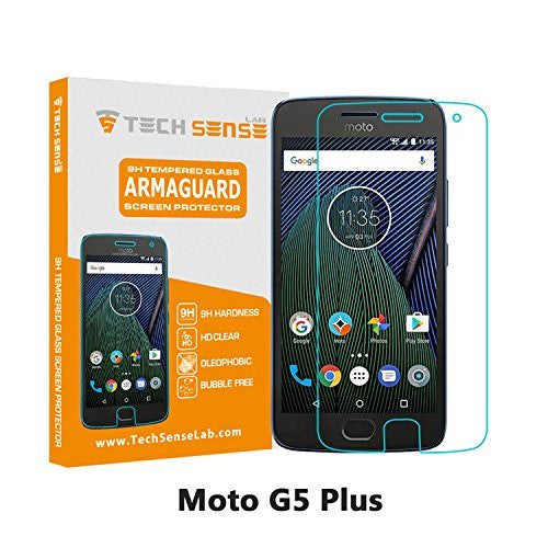 Moto G5 Plus Premium Tempered Glass Screen Protector [9H] by Tech Sense Lab - Full HD, Shatterproof, Anti Scratch Screen Guard For Moto G5 Plus