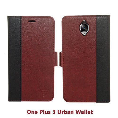 Tech Sense Lab (Australia) Oneplus 3T Faux Leather, Urban Wallet Case with Kickstand feature And Card Slots, Military Grade TPU Holder & Effortless Double Magnetic Clasp