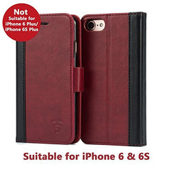 Tech Sense Lab (Australia) iPhone 6 / 6S Faux Leather, Urban Wallet Case With Kickstand feature And Card Slots, Military Grade TPU Holder & Effortless Double Magnetic Clasp