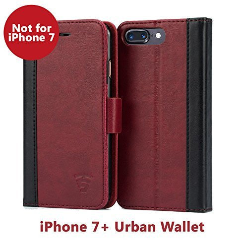 iPhone 7 Plus Faux Leather, Urban Wallet Case By Tech Sense Lab With Kickstand feature And Card Slots, Military Grade TPU Holder & Effortless Double Magnetic Clasp