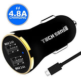 Tech Sense Lab (Australia) Ce & Fcc Certified 4.8 Amp Dual Usb Car Charger By Tech Sense Lab - Compatible Smartphones/Tablets - (Includes 1 Micro Usb Cable Rated At 480Mbps)