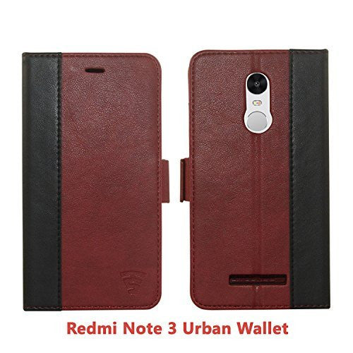 Redmi Note 3 Faux Leather, Urban Wallet Case By Tech Sense Lab With Kickstand feature And Card Slots, Military Grade TPU Holder & Effortless Double Magnetic Clasp
