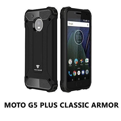Moto G5 Plus Armaguard Classic Armor Case By Tech Sense Lab, Dual Layer, Shockproof And Easy Grip Design With Carbon Fiber Finish