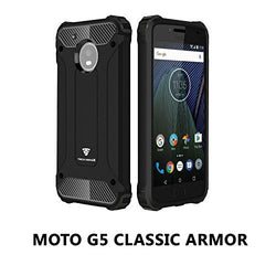 Moto G5 Armaguard Classic Armor Case By Tech Sense Lab, Dual Layer, Shockproof And Easy Grip Design With Carbon Fiber Finish