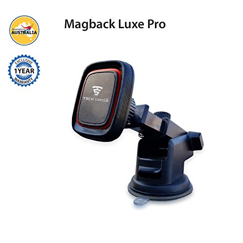 Tech Sense Lab (Australia) MagBack Pro Luxe Magnetic Mobile Holder/Cell Phone MountFor Car Dashboard, Windshield, All Flat Sufaces - 360⁰ RotationWithLong Adjustable Arm.