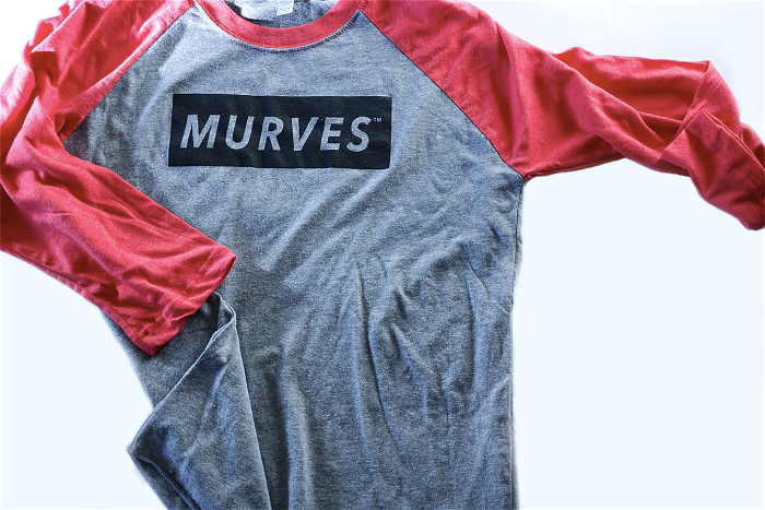 MURVES red/grey baseball tee (muscles & curves)